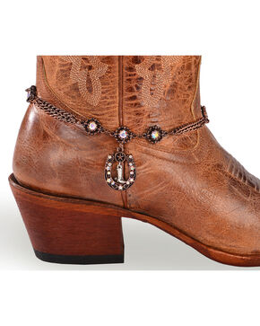 Shyanne Women's Copper Triple Chain Horseshoe Boot Bracelet, Brown, hi-res