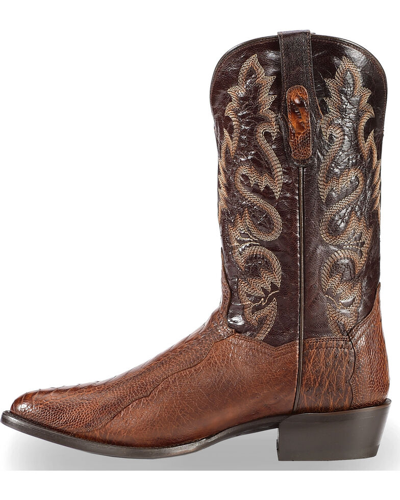 Dan Post Men's Brass Ostrich Leg Cowboy Boots - Medium Toe , Dark Brown, hi-res