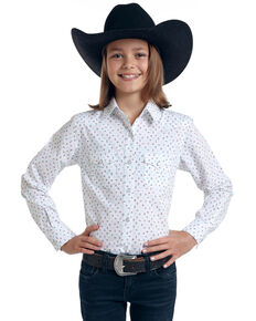 Rough Stock by Panhandle Girls' White Picacho Southwest Print Long Sleeve Western Shirt, White, hi-res