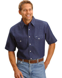 Wrangler Western Work Shirt - Big, Tall, Indigo, hi-res