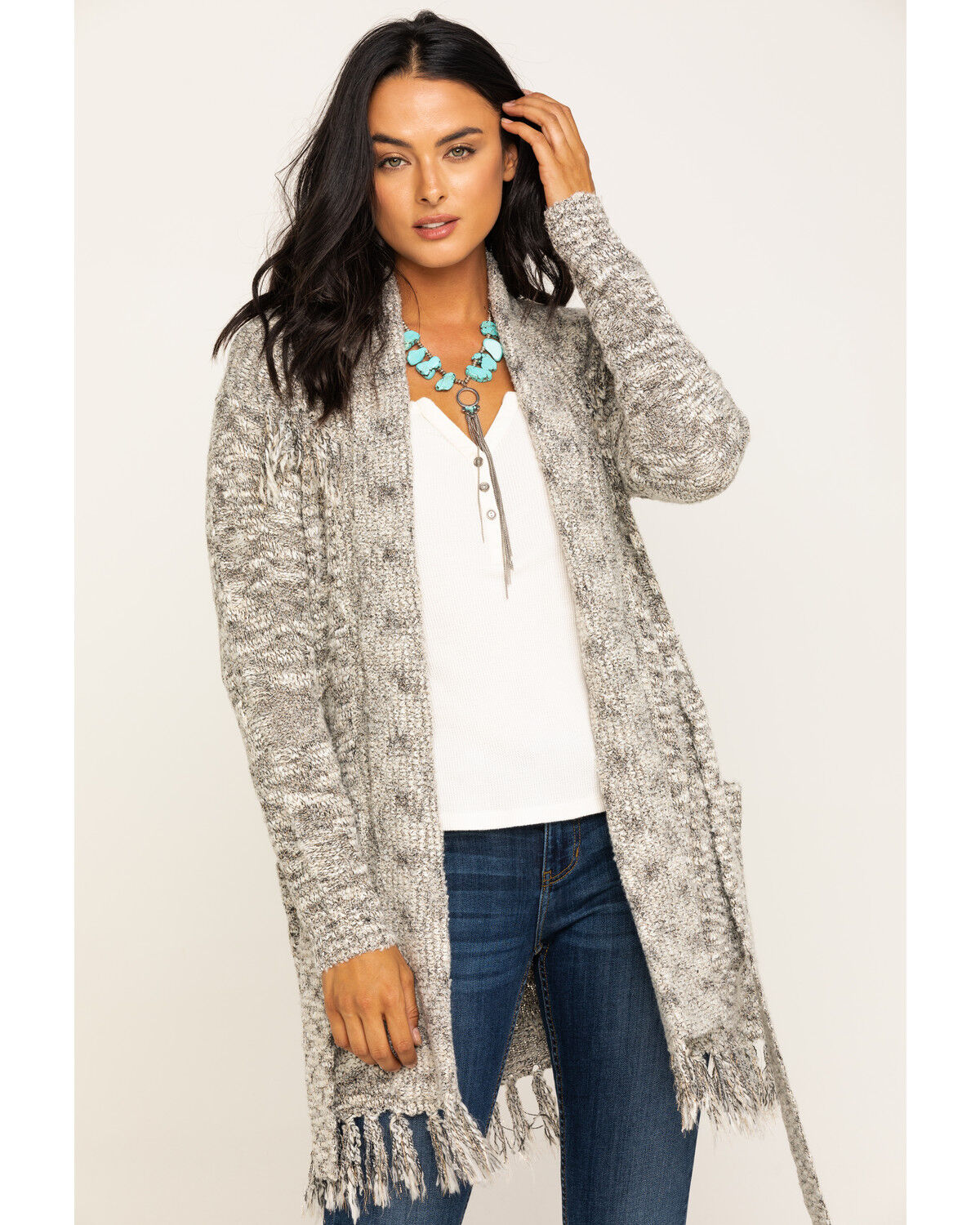 Tribal Womens Lace Up Crop Sweater Cardigan