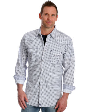 Wrangler Men's Navy Print 20X Advanced Comfort Competition Shirt , Navy, hi-res