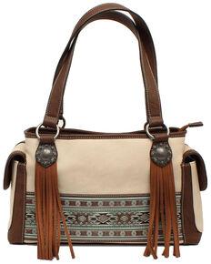 Blazin Roxx Women's Nicole Style Aztec Embossed Handbag, White, hi-res