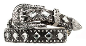 Nocona Croc Print Diamond Studded Belt, Black, hi-res