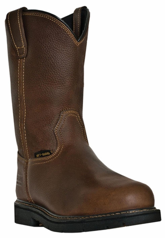 McRae Men's Pull-On Internal Met Guard Work Boots - Steel Toe, Brown, hi-res