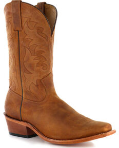 Moonshine Spirit Men's Crazy Horse Vintage Western Boots - Square Toe, Brown, hi-res