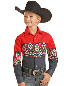 Panhandle Boys' Red & Navy Eagle Aztec Border Print Long Sleeve Snap Western Shirt , Navy, hi-res