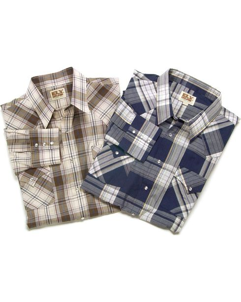 Ely Assorted Plaid or Stripe Long Sleeve Western Shirt, Plaid, hi-res