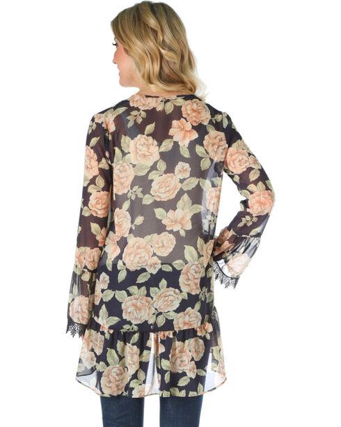 Wrangler Women's Black Floral Kimono , Black, hi-res