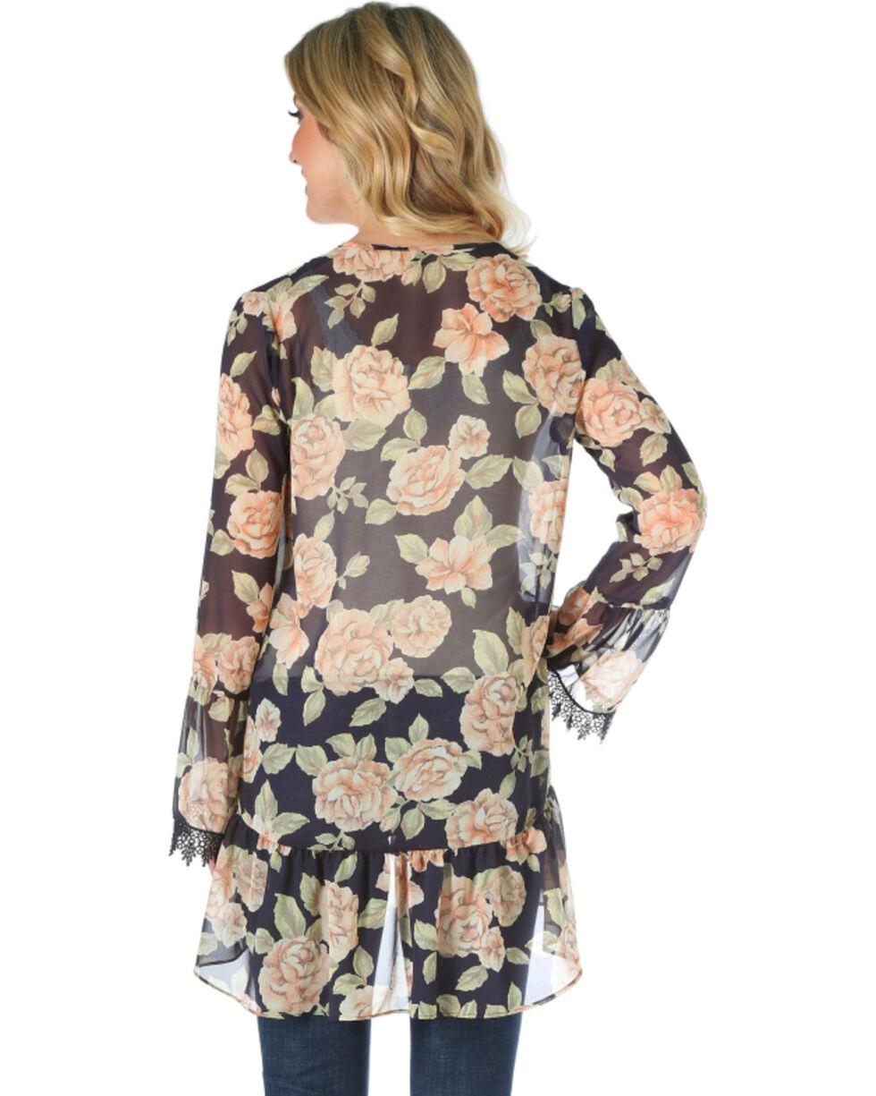 Wrangler Women's Black Floral Kimono , , hi-res