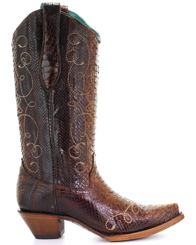 Corral Women's Tan Exotic Python Western Boots - Snip Toe, Tan, hi-res