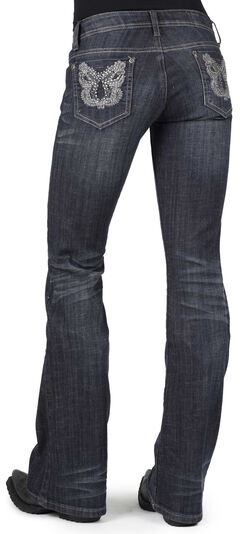 Stetson Women's 816 Metallic Stitch Bootcut Jeans, Denim, hi-res