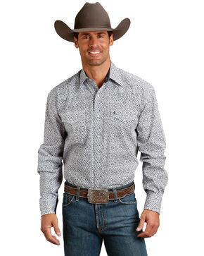 Roper Men's Blue Small Floral Print Long Sleeve Western Shirt , Blue, hi-res