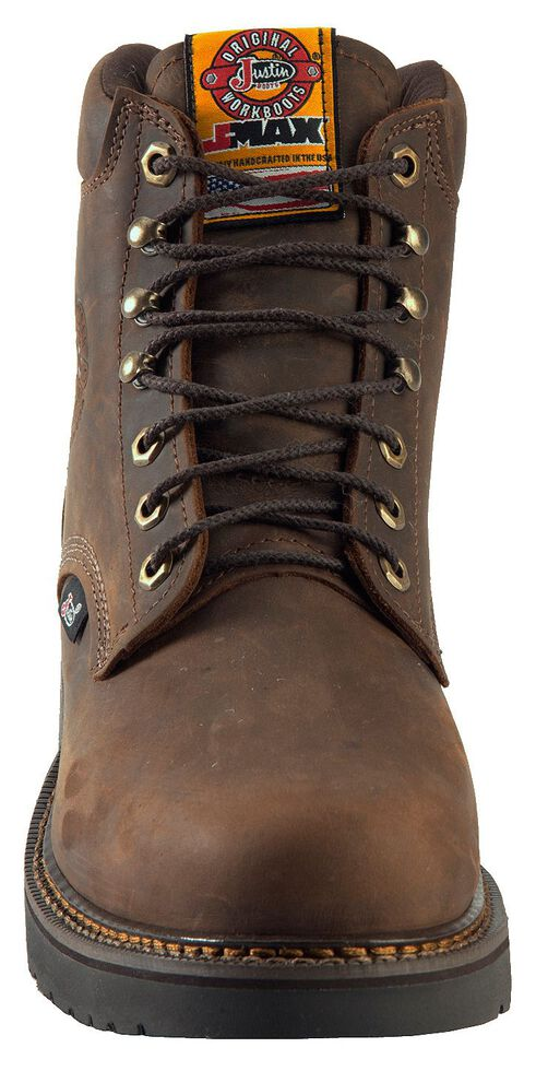 """Justin Men's J-Max 6"""" Balusters Rugged Bay EH Lace-Up Work Boots - Steel Toe, Brown, hi-res"""