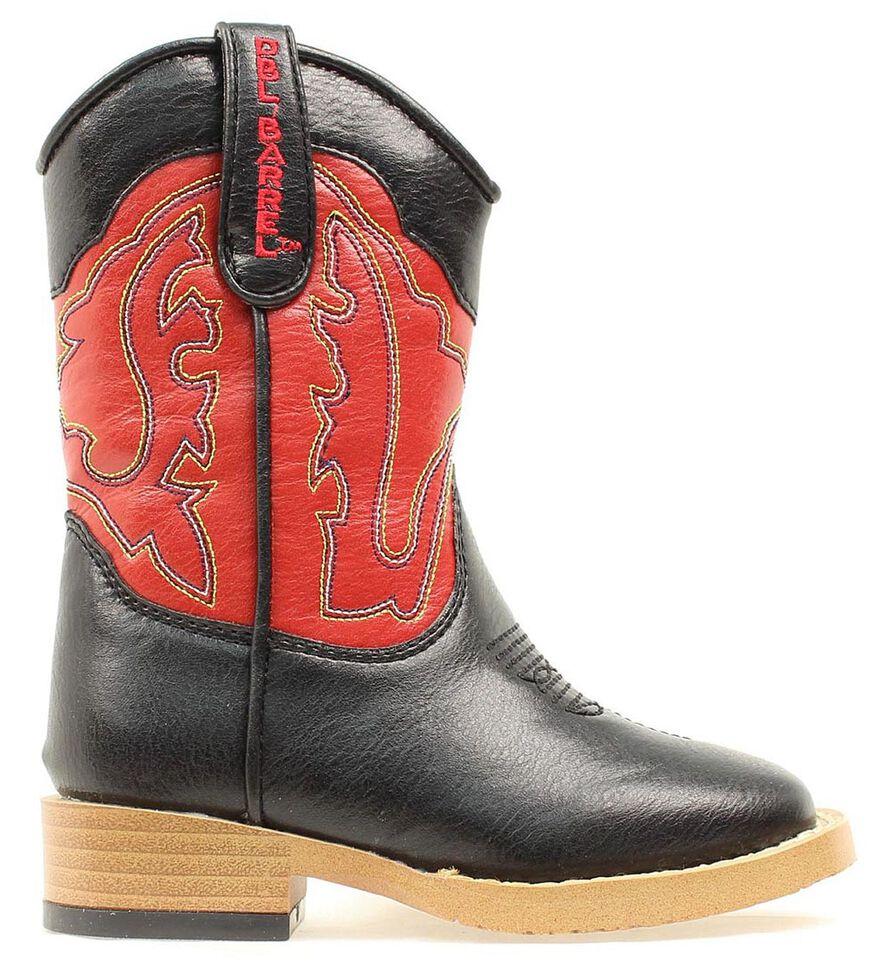 Double Barrel Toddler Boys' Trailboss Side Zipper Cowboy Boots - Square Toe, Black, hi-res