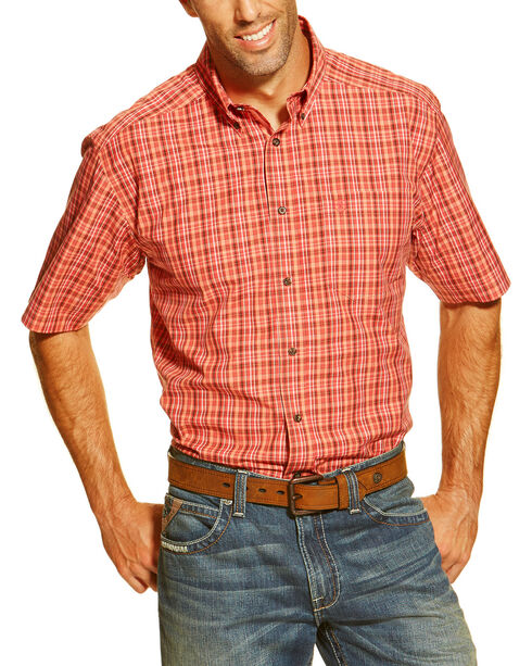 Ariat Men's Coral Danville Long Sleeve Performance Shirt - Tall , Coral, hi-res