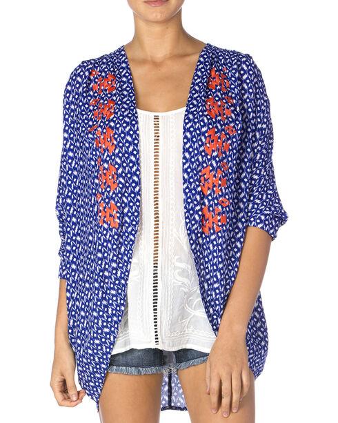 Miss Me Women's Blue & Coral Sheer Kimono, Blue, hi-res