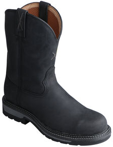 Twisted X Black Lite Cowboy Work Boots - Soft Round Toe, Distressed, hi-res