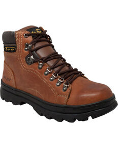 "Ad Tec Men's Crazy Horse Leather 6"" Work Hiker Boots, Brown, hi-res"