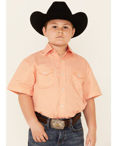 Panhandle Select Boys' Orange Geo Print Short Sleeve Snap Western Shirt , Orange, hi-res