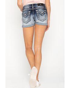 Miss Me Women's Light Wash Flap Shorts , Blue, hi-res