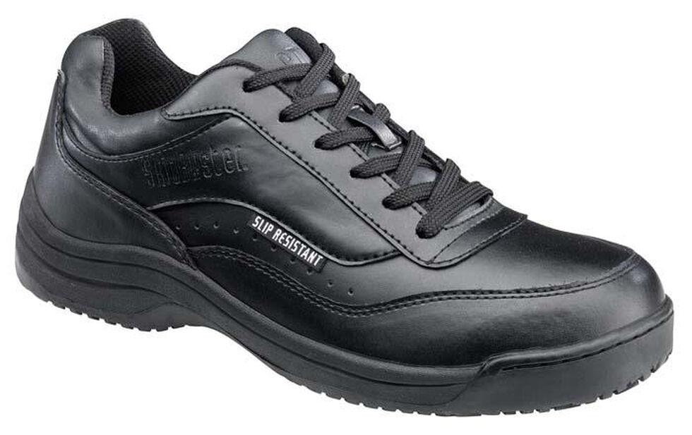 SkidBuster Women's Black Lace-Up Waterproof Work Shoes, Black, hi-res