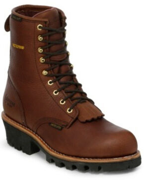 "Chippewa Insulated Waterproof 8"" Logger Boots - Round Toe, Briar, hi-res"