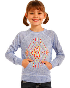 Rock & Roll Cowgirl Girls' Aztec Graphic Pullover, Royal Blue, hi-res