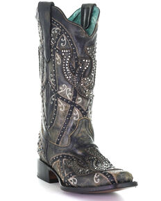 Corral Women's Black Horseshoe Overlay Western Boots - Square Toe, Black, hi-res