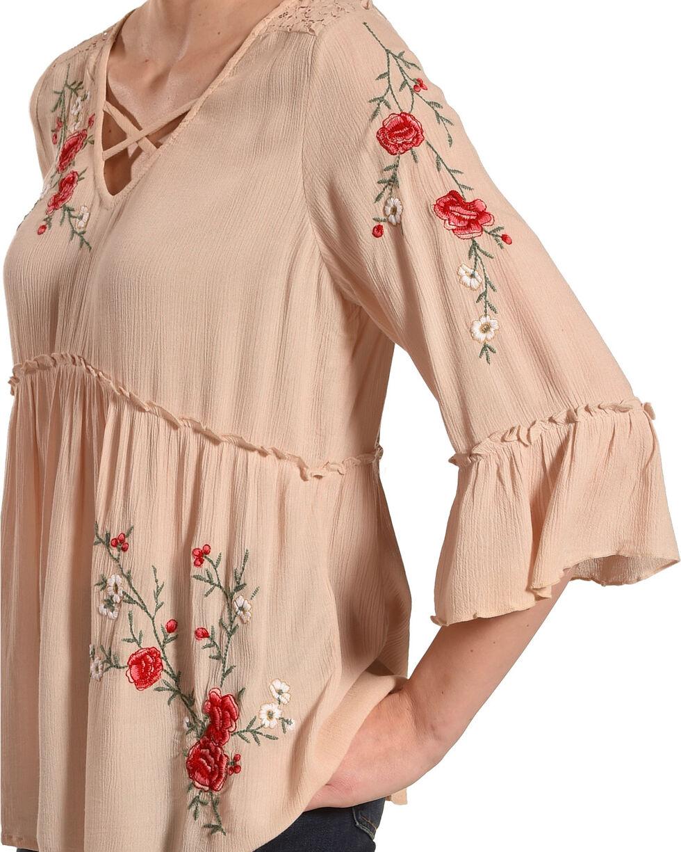 Bila Women's Blush Embroidered Lace Peasant Top , Tan, hi-res