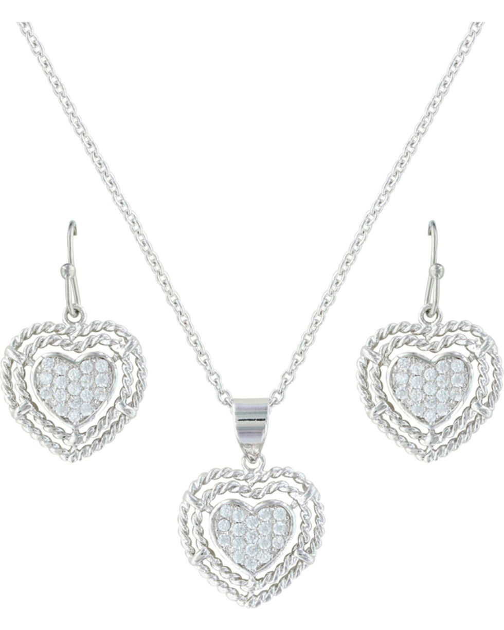 Montana Silversmiths Women's Roped My Heart Jewelry Set , Silver, hi-res