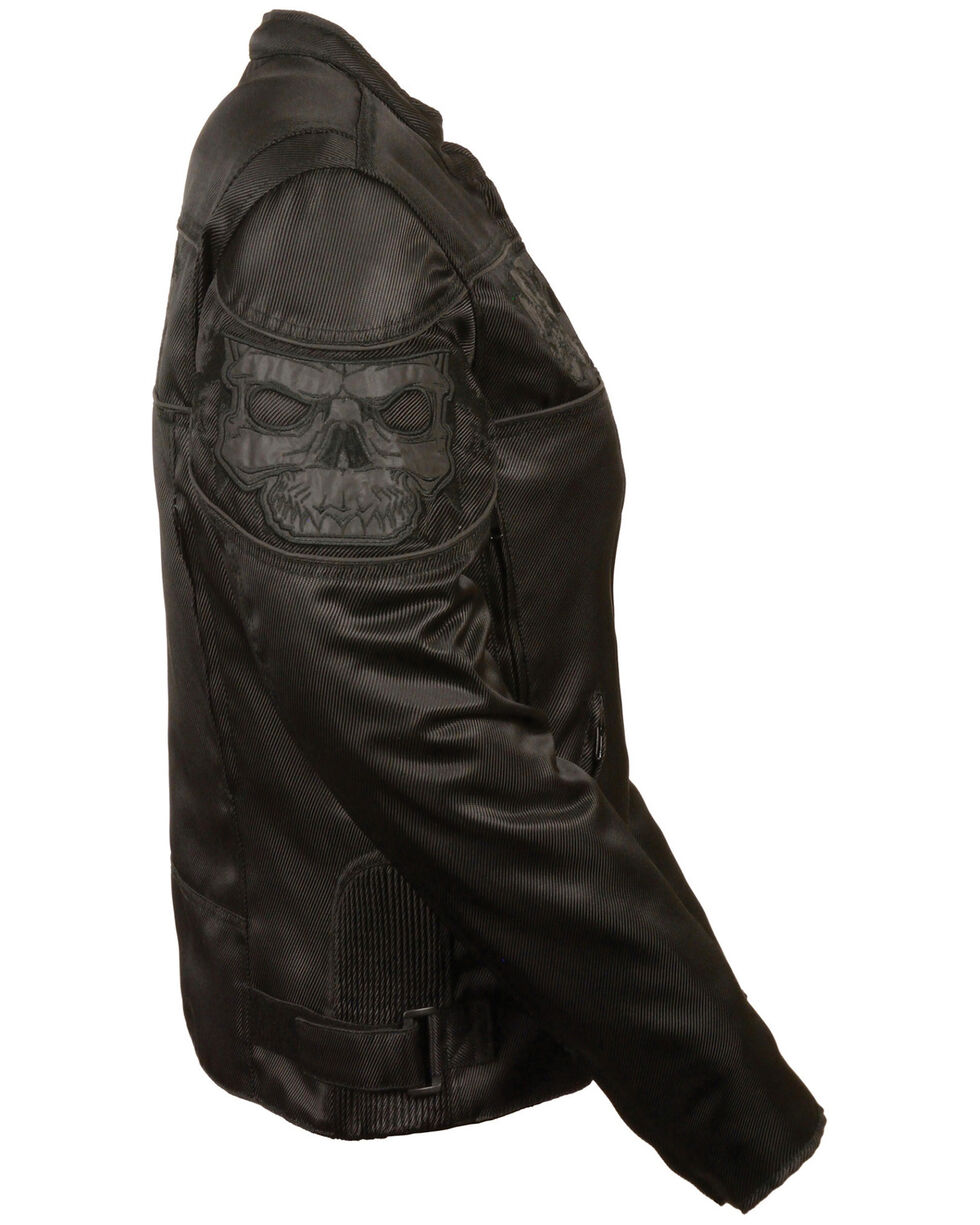 Milwaukee Leather Women's Reflective Skull Crossover Textile Scooter Jacket - 5X, Black, hi-res