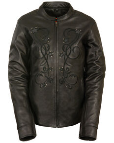 Milwaukee Leather Women's Reflective Star Leather Jacket, Black, hi-res
