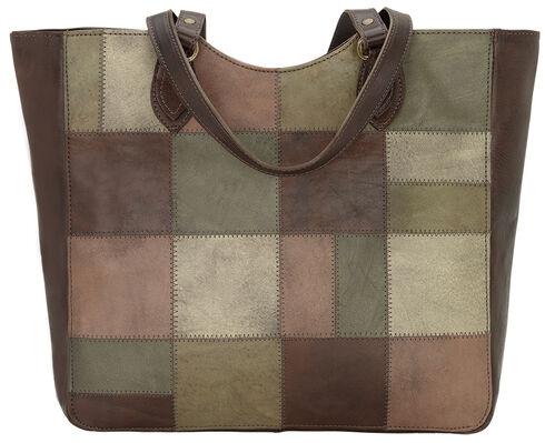 American West Chestnut Brown Groovy Soul Large Zip Top Tote Bag  , Green, hi-res