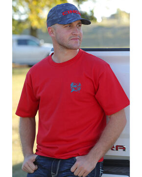Cinch Men's Red Logo Short Sleeve Cotton Jersey Tee , Red, hi-res