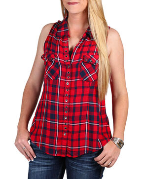 Shyanne Women's Sleeveless Plaid Button Up Top, Red, hi-res
