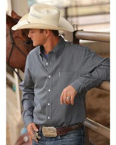 Cinch Men's Grey Print Modern Fit Long Sleeve Shirt , Grey, hi-res