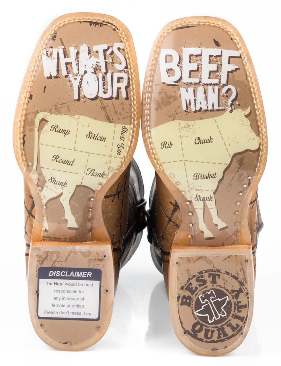 Tin Haul Barbed Wire Butcher Shop Cowboy Boots - Square Toe, Brown, hi-res