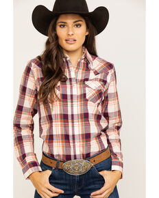 Wrangler Women's Burgundy Plaid Snap Long Sleeve Western Shirt , Burgundy, hi-res
