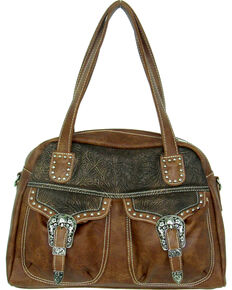 Savana Women's Faux Leather Double Pocket Handbag , Tan, hi-res