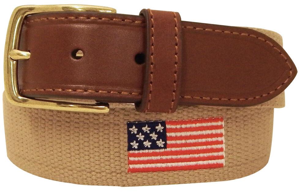 Danbury Men's Khaki American Flag Leather Belt, Khaki, hi-res
