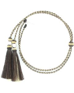 Black & Blonde Braided Horsehair Tassels Stampede String, Natural, hi-res
