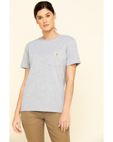 Carhartt Women's Workwear Pocket T-Shirt, Heather Grey, hi-res