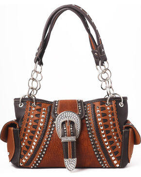 Shyanne Women's Buckle Double Chain Whipstitch Bag - Khaki, Black, hi-res