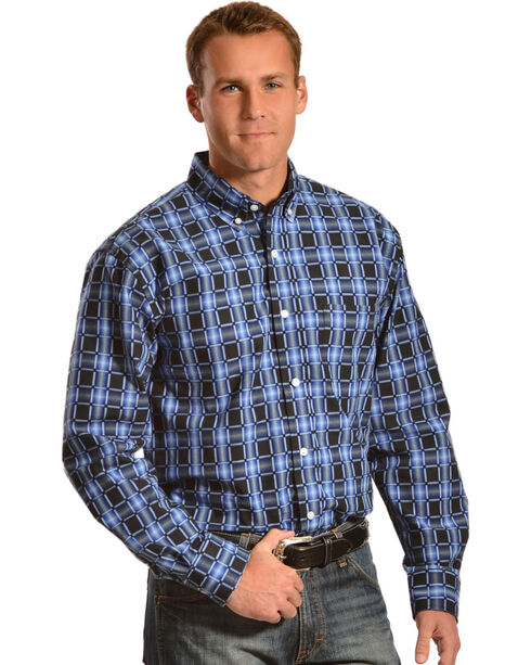 Gibson Trading Co. Men's Black & Blue Check Western Shirt, Blue, hi-res