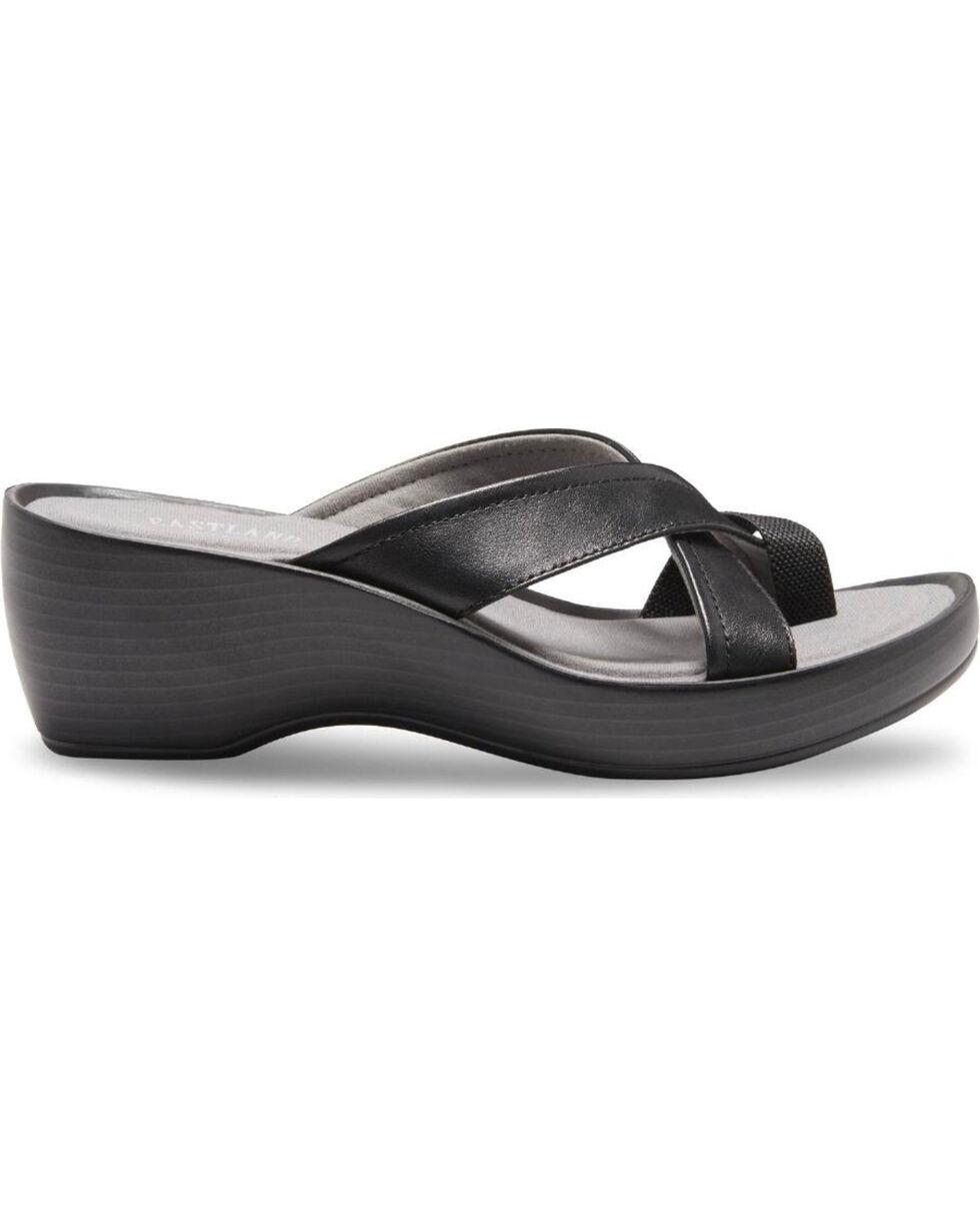 Eastland Women's Black Willow Wedge Sandals , , hi-res