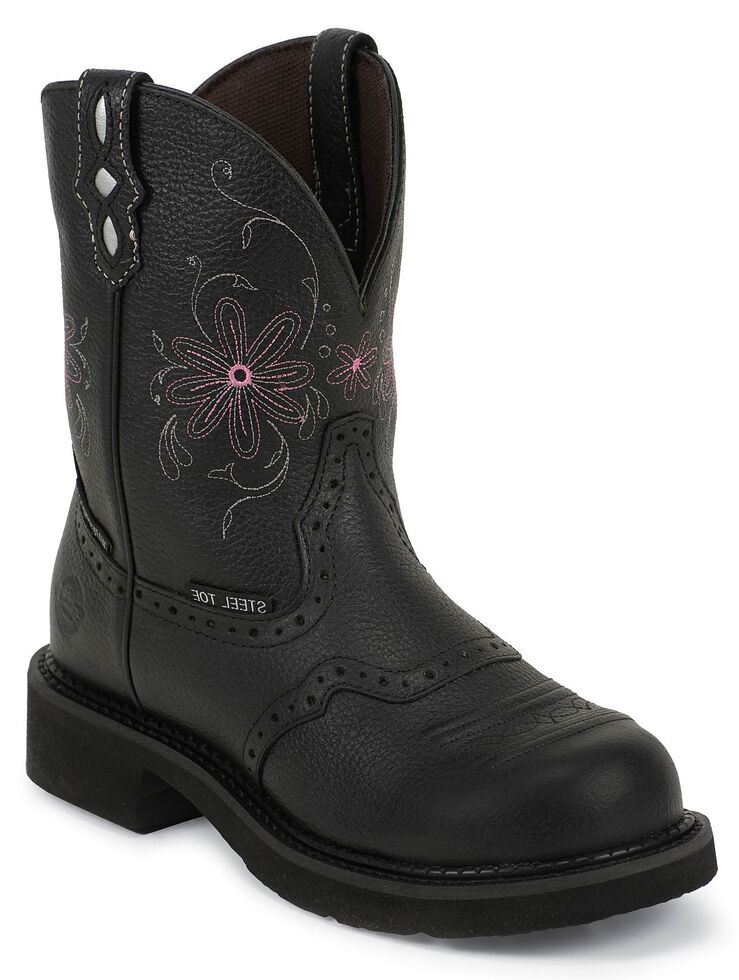 Justin Gypsy Women's Wanette Black EH Work Boots - Steel Toe, Black, hi-res