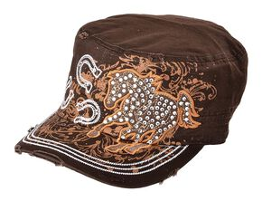 Running Horse & Horseshoes Embroidered Bling Cap, Brown, hi-res