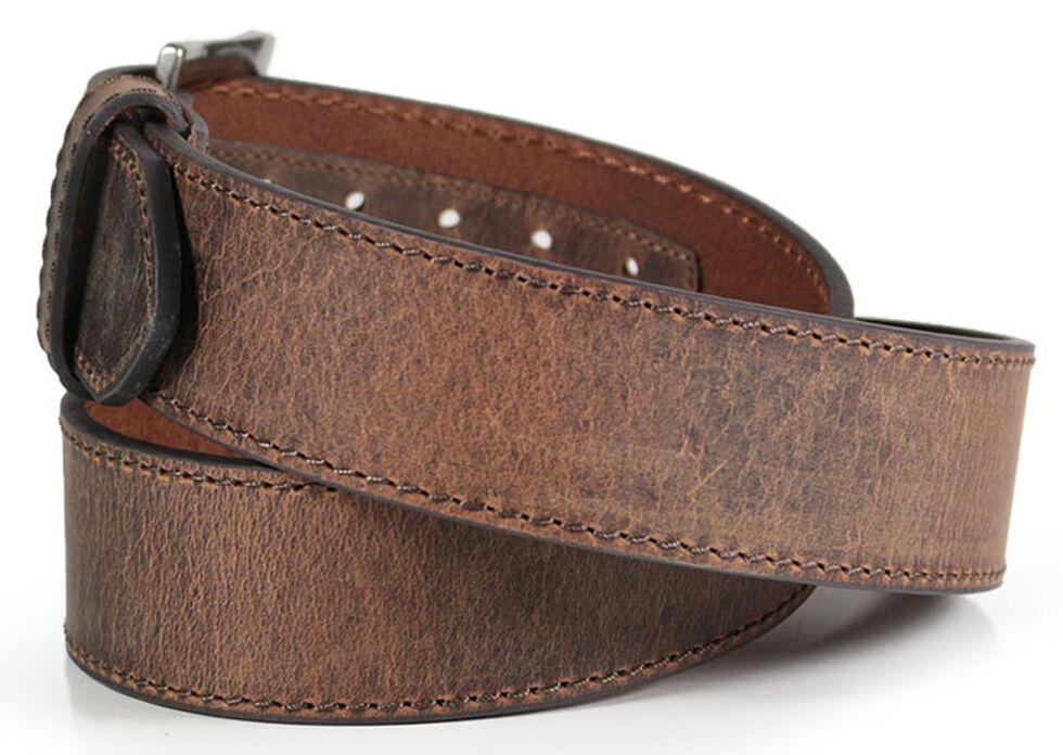 American Worker Men's Wide Leather Belt, Brown, hi-res