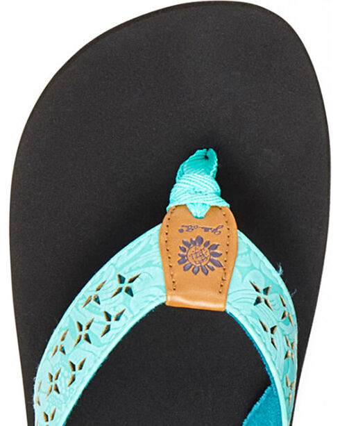 Yellow Box Women's Benji Laser Cut Thong Sandals, Turquoise, hi-res